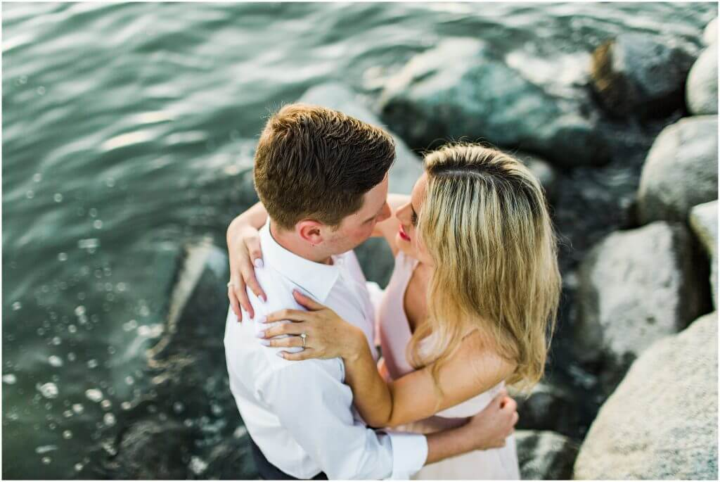 Couples' sunset engagement session at Stanley Park and English Bay.