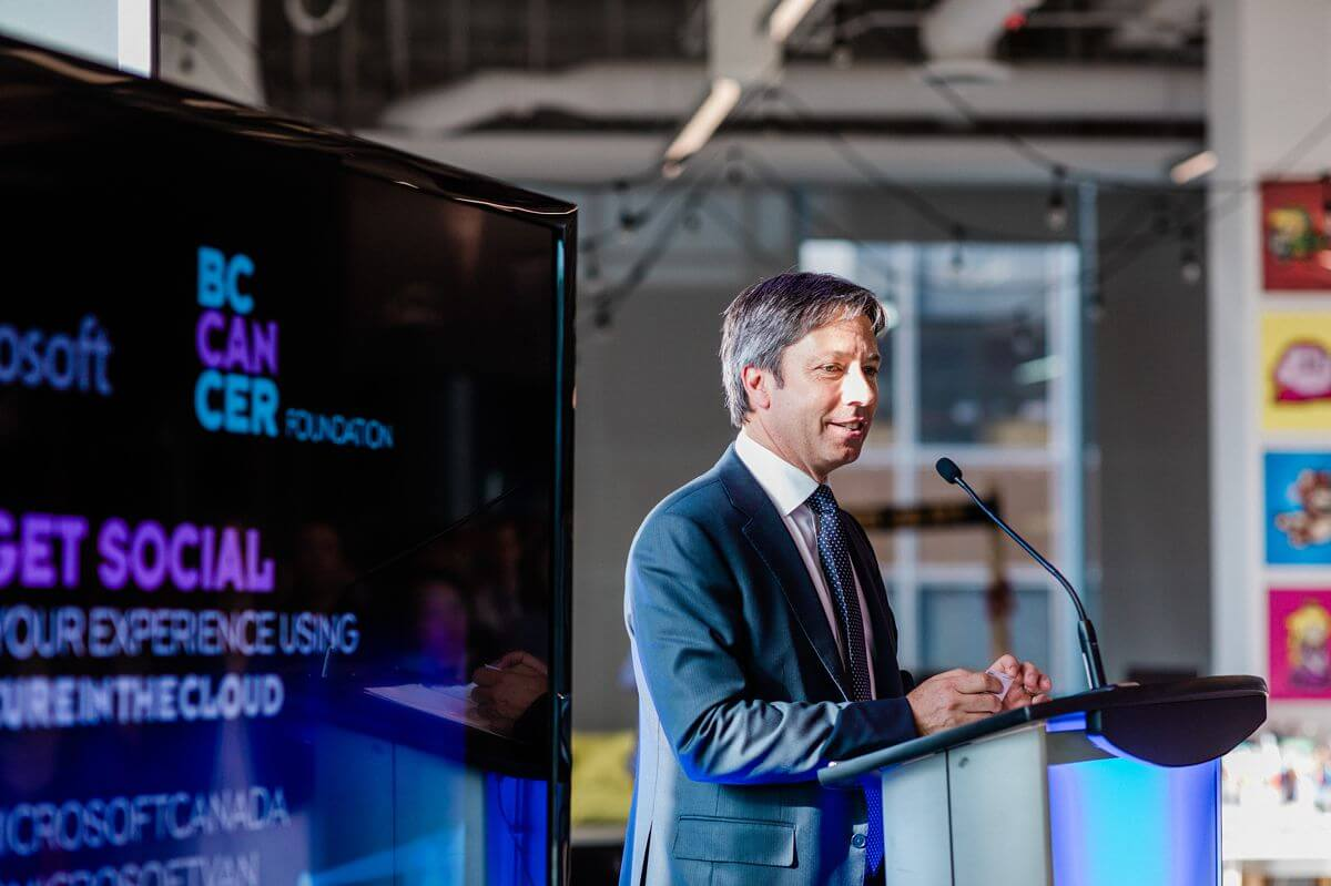 Microsoft Canada President Kevin Peesker giving speech